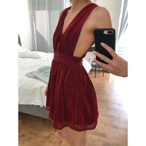 NASTY GAL Red Plunge Mini Dress